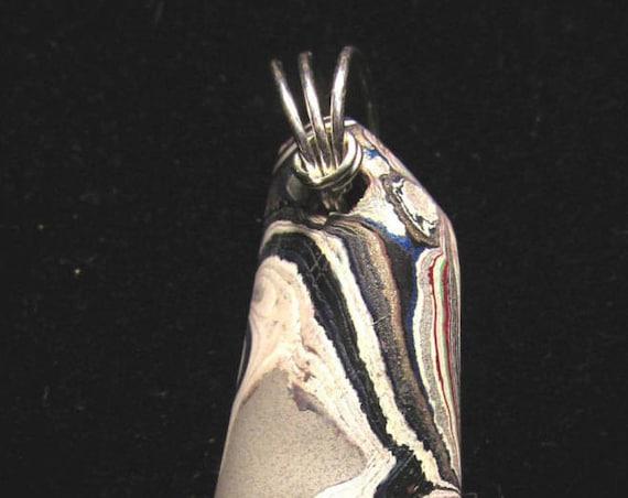 Vintage Fordite pendant, Detroit Agate, gray white black red, silver twirl bail 28ct