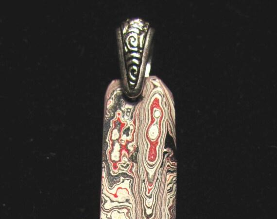 Vintage Fordite pendant, Detroit Agate, red gray black white, pewter bail 24ct