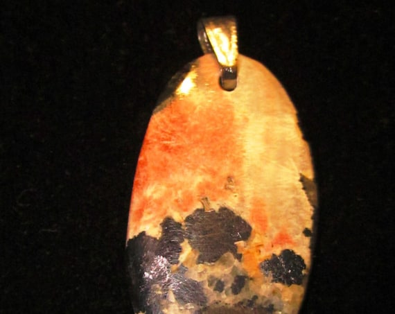 Cerussite-Barite Galena pendant, oval orange black silver, silver bail 58ct