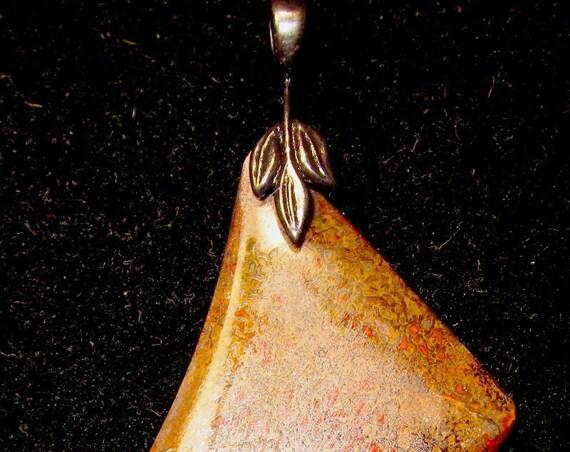 """Dinosaur Bone pendant, fossilized brown, """"Odd Quad"""", black leaf bail 70ct"""