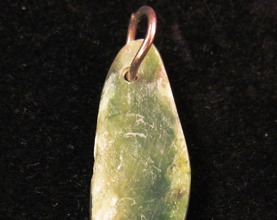 Jade pendant, natural green, Jade Cove California, silver jump bail 15ct