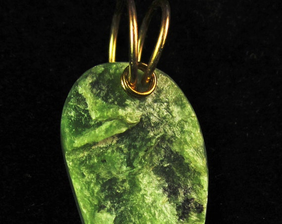 Jade pendant, natural green, Jade Cove California, brass twirl bail 24ct
