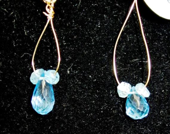 Earrings J Topaz, sky blue, Faceted Teardrops, November Birthstone, Apatite gold kidney wires 7.5ct