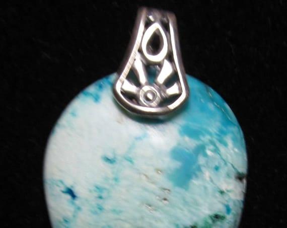 Chryscolla pendant, Peruvian, aqua white, silver bail 32ct