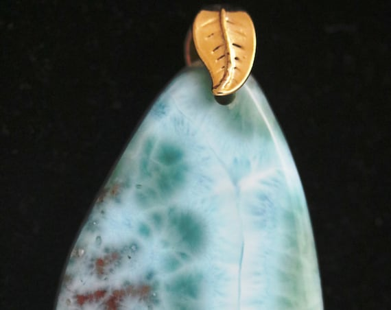 "Larimar Pendant, aqua white red blue, "" Wonder of Wonder"",  gold bail 112cts"