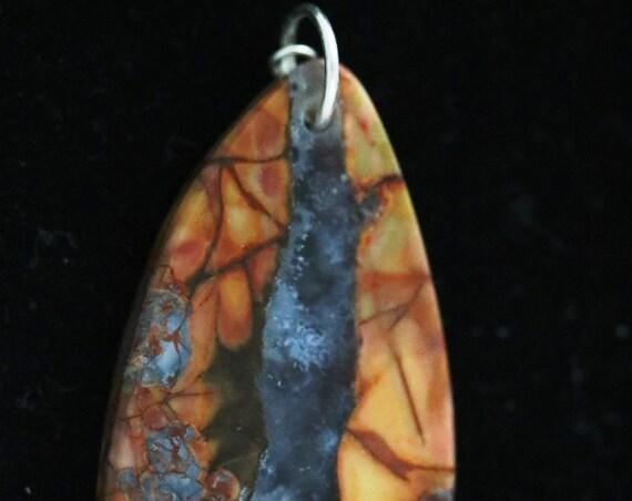 Jasper Agate pendant, brown light blue translucent, silver jump bail 38ct