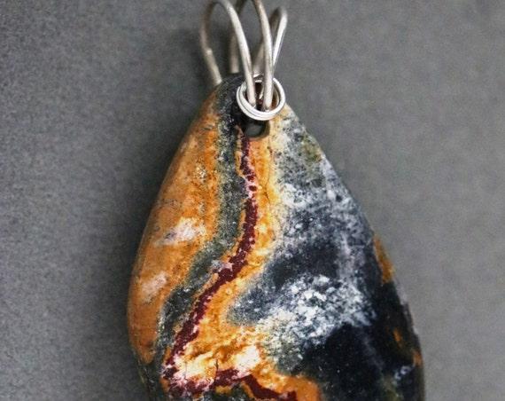 Blacket Jasper pendant, orangish black gray, silver twirl bail 67ct