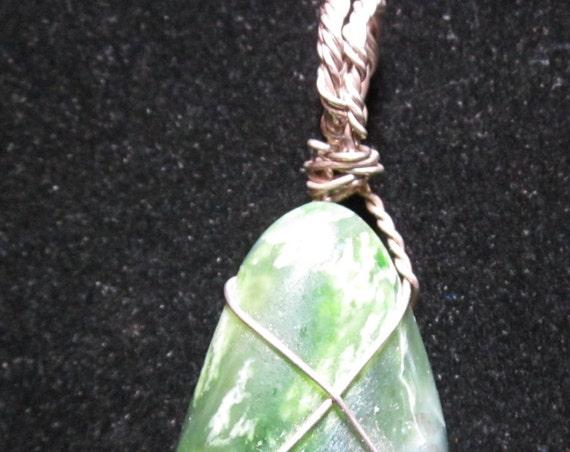 Jade oval pendant, Jade Cove California, silver wire wrap 126ct