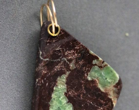 Chrysoprase pendant, green brown, brass twirl bail 71ct
