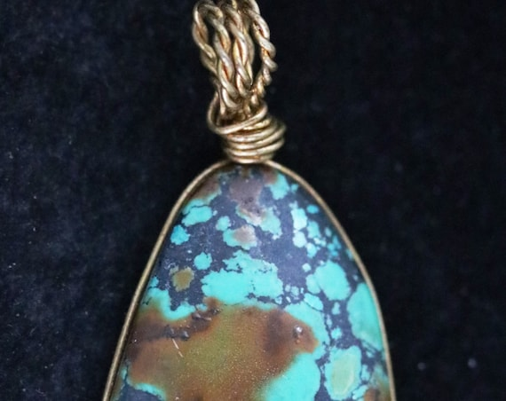 Old Stock Turquoise pendant,  brass wire wrap 44ct