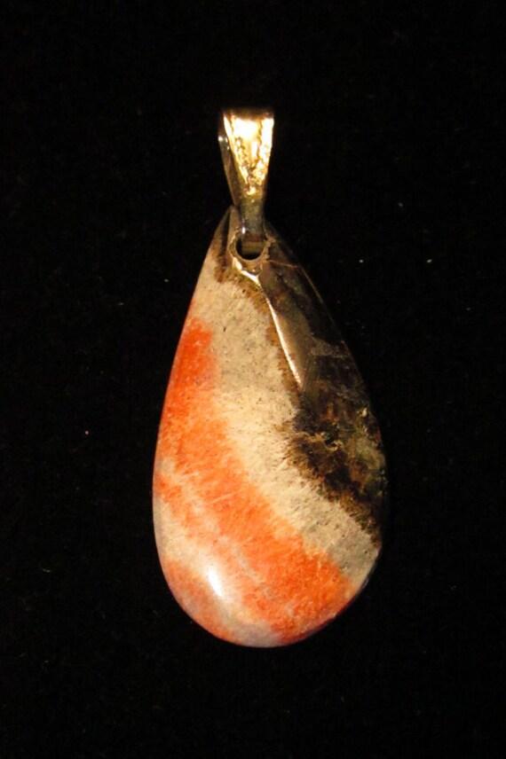 Cerussite- Barite Galena, pendant, orange white silver black, silver bail 24ct