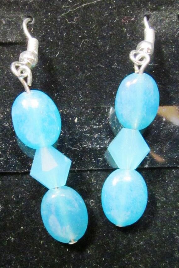 Earrings aqua beads, sterling silver (29)