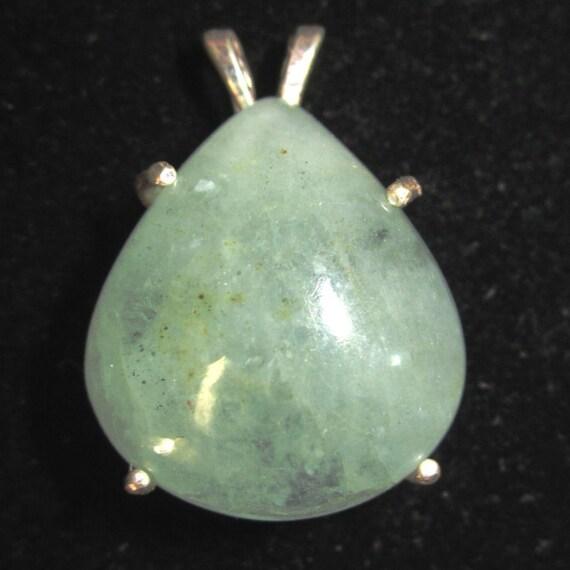 Aquamarine Pendant, March Birthstone, silver bezel 54ct