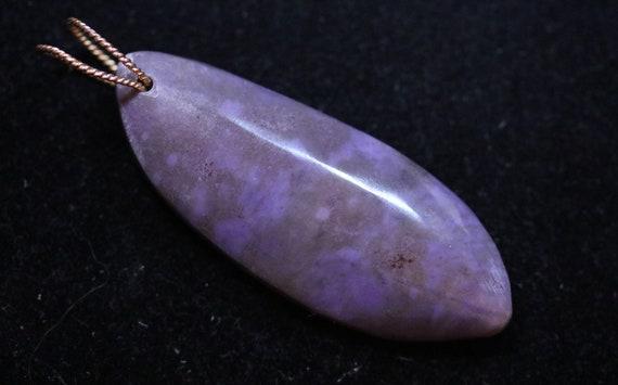 Purple Jade Pendant, gold twisted twirl bail, 88ct