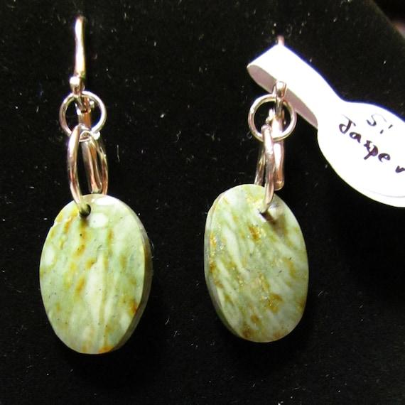 Earrings J, green jasper, silver lever backs