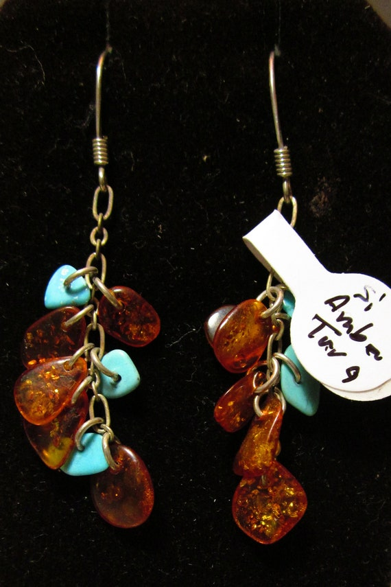 Earrings, Amber Turquoise, silver, fish hook