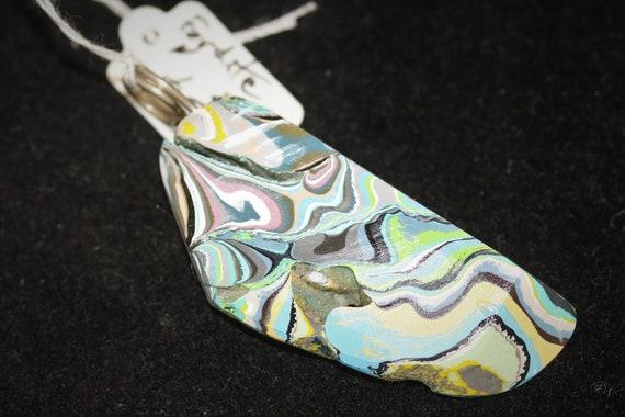 "Fordite pendant, blue white gray black yellow pink, ""Crisp Color"", nickel twirl bail 26ct"