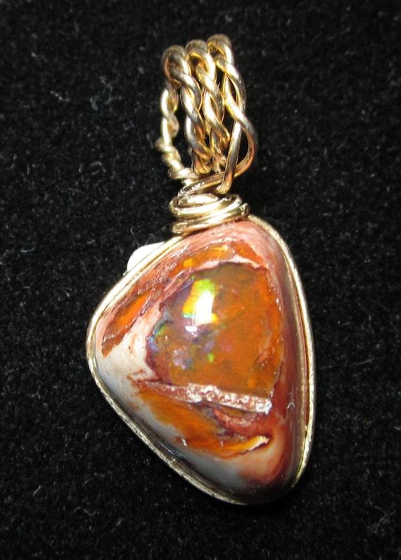Opal pendant in matrix, multi-color sparkle, gold wire wrap 12.7ct
