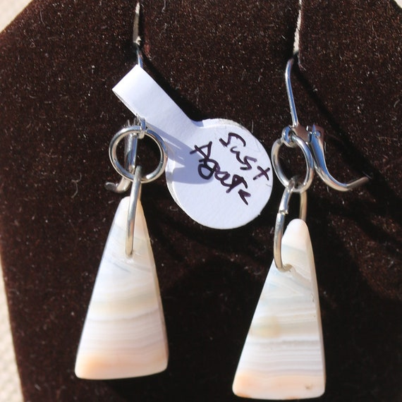 Earrings Pink Agate, silver lever backs