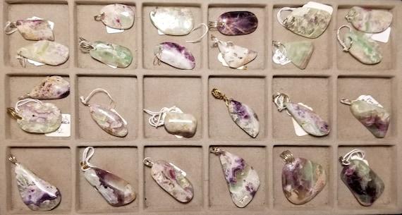 Fluorite, 25 pendants, green purple white