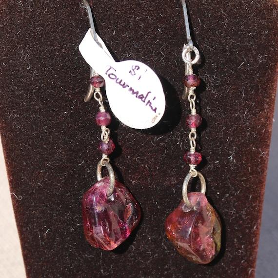 Tourmaline Earrings, Garnet beads 3, gold lever backs