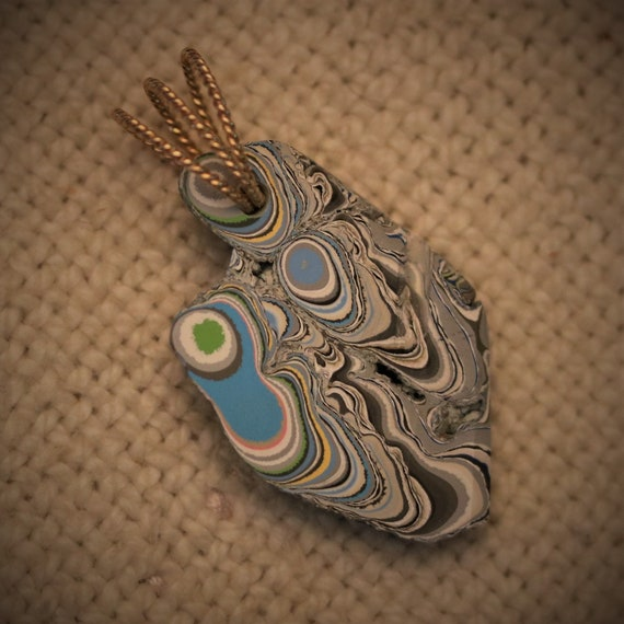Fordite pendant, blue white gray, Gold twisted twirl bail, 20.5ct