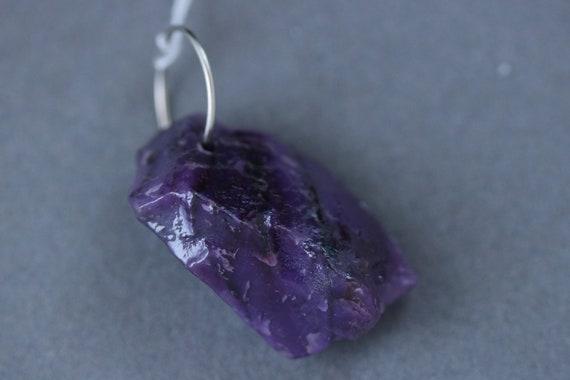 Sugilite nugget pendant, purple, silver jump bail 34.5ct