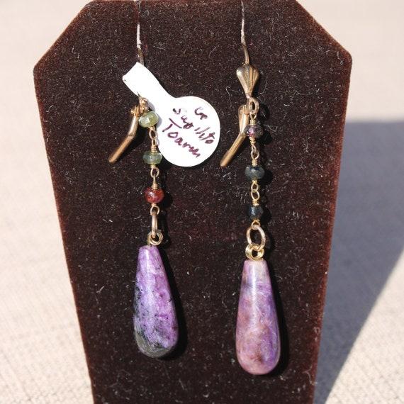 Sugilite Earrings, Sugilite teardrops, Tourmaline beads 3, gold lever backs
