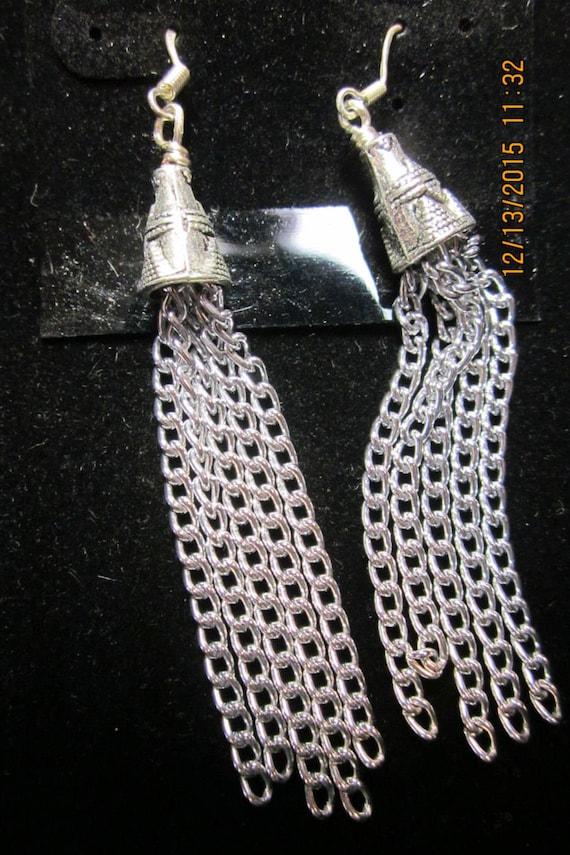 Earrings silver chain dangles, sterling silver (15)