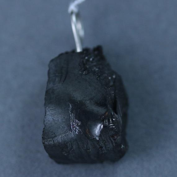 Elite Noble Shungite pendant, black silvery, silver bail 25ct