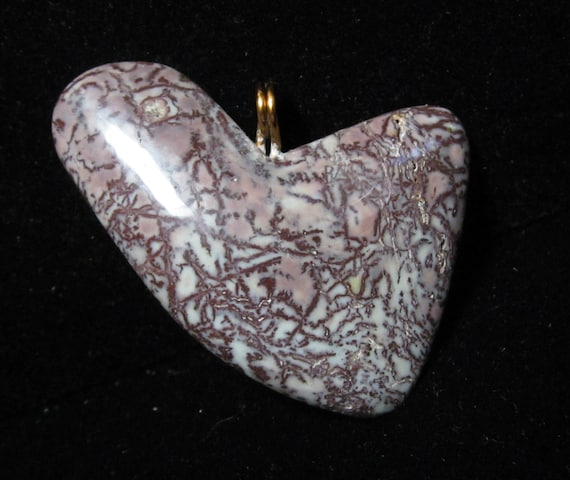 "Jasper Heart Pendant, brown dendritic jasper, ""Swooping Sail"", metal bail 66ct"