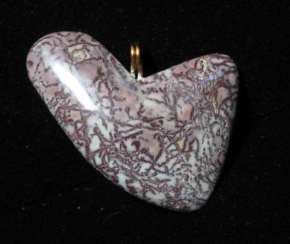 """Jasper Heart Pendant, brown dendritic jasper, """"Swooping Sail"""", metal bail 66ct"""