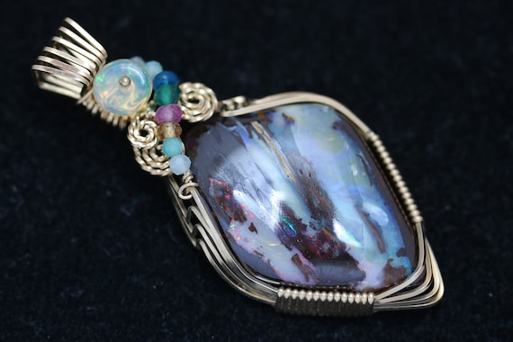 Opal Pendant, 7 beads, gold wire wrap 36.5ct