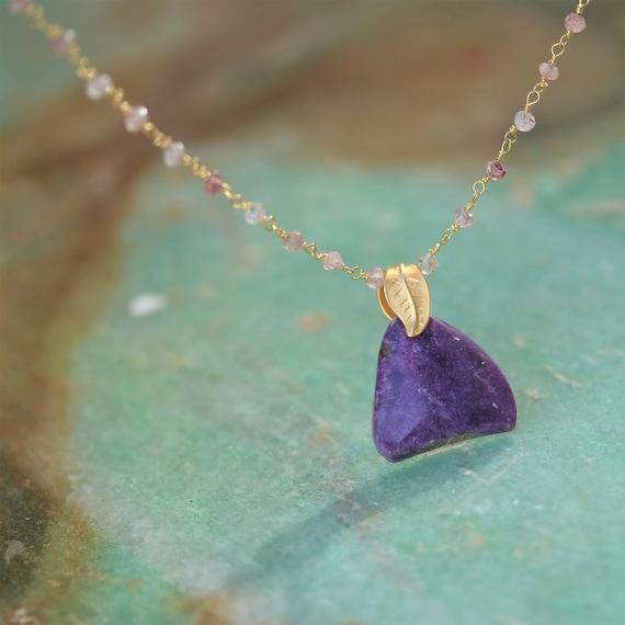 "Sugilite 20 ct Pendant on Gold Rose Quartz 18"" chain Necklace"