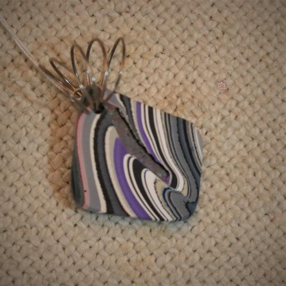 "Fordite pendant, lavender black white gray, ""Lovely Lavender"", silver twirl bail, 16.5ct"