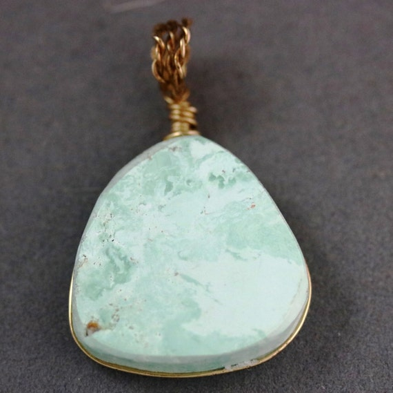 Chrysoprase Pendant, light green, brass circumfrential wire wrap, 56ct