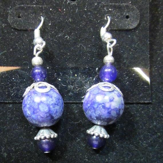 Earrings Jen 28 purple beads, sterling silver, sterling silver