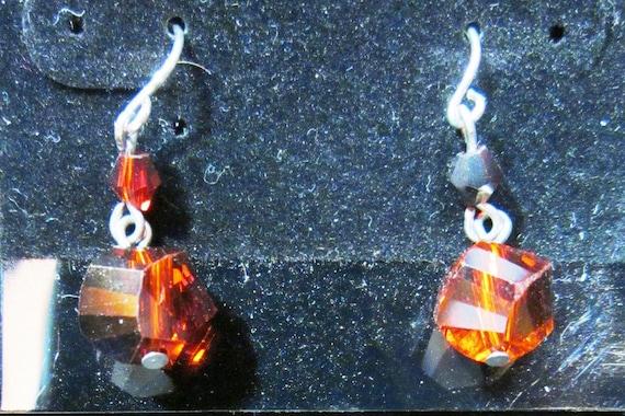 Earrings Jen 19 red beads, sterling silver