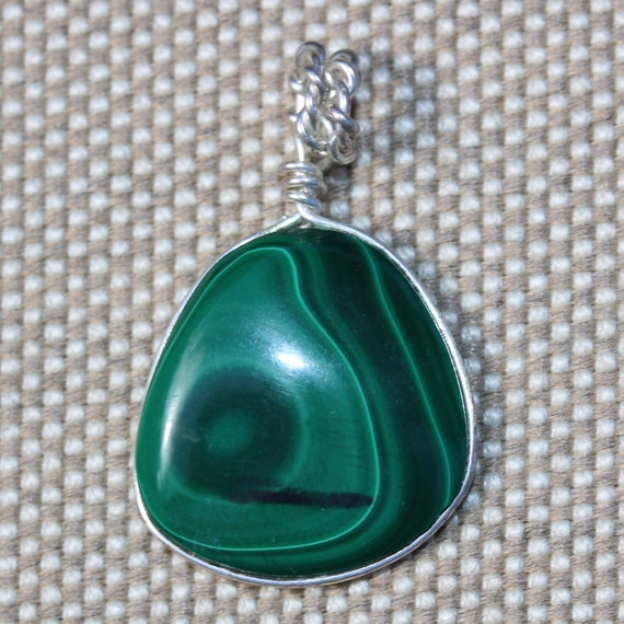 Malachite pendant, light dark green, silver wire wrap bail 44ct