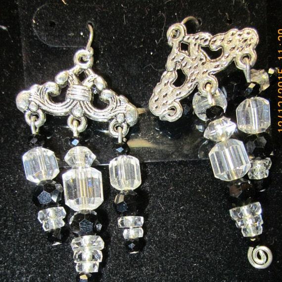 Earrings Jen 9 silver crystals black beads,sterling silver