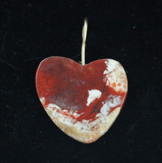 "Coprolite Heart pendant, dinosaur dung, red beige white, ""Deep Feelings"",  brass bail 23ct"