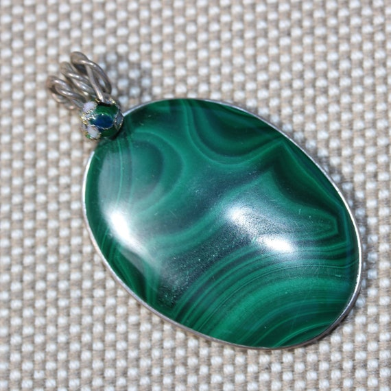 Malachite pendant, light dark green, Cloisonne Bead, silver wire wrap bail 83ct