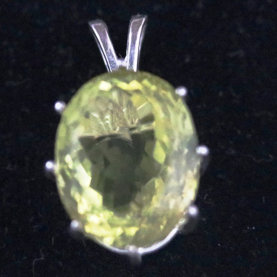 Lemon Quartz pendant, yellow, 6 point silver bezel 31ct