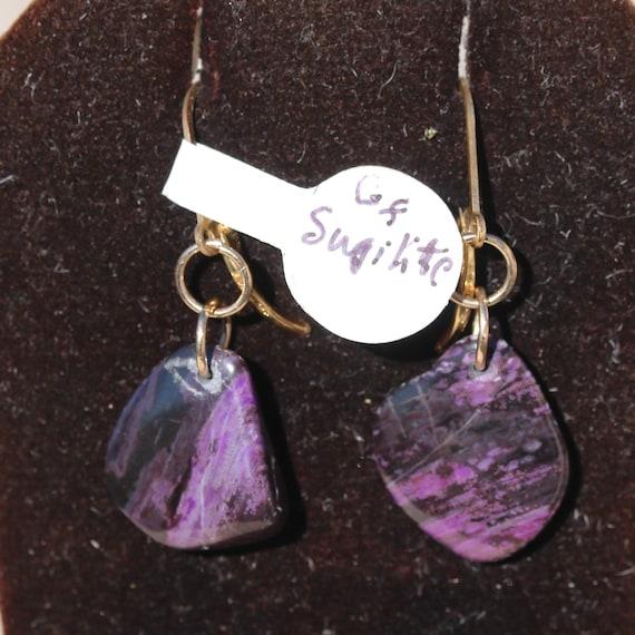 Sugilite Earrings, Sugilite drops, gold lever backs