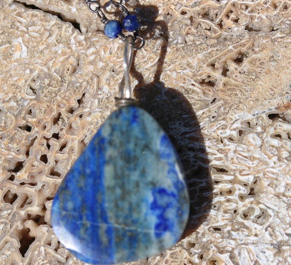 """Lapis Lazuli pendant 40ct, 18"""" silver anodized beaded chain, lobster clasp"""