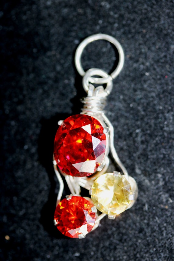 "Padaradsha Sapphire Citrine November birthstone, pendant, ""Let me make you one  of a kind"", Triad"