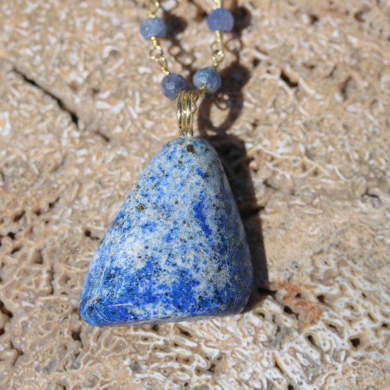 """Lapis Lazuli pendant 35ct, 18"""" gold chain, chalcedony beads, lobster clasp"""