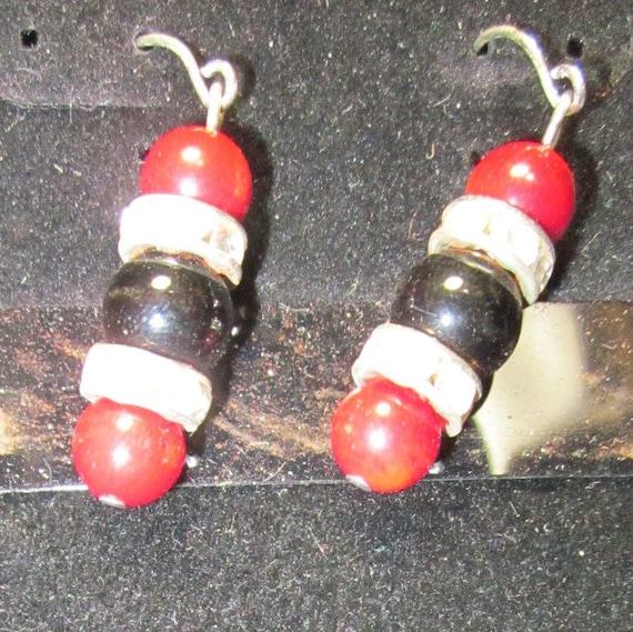 Earrings Jen 8 silver red balck beads, sterling silver