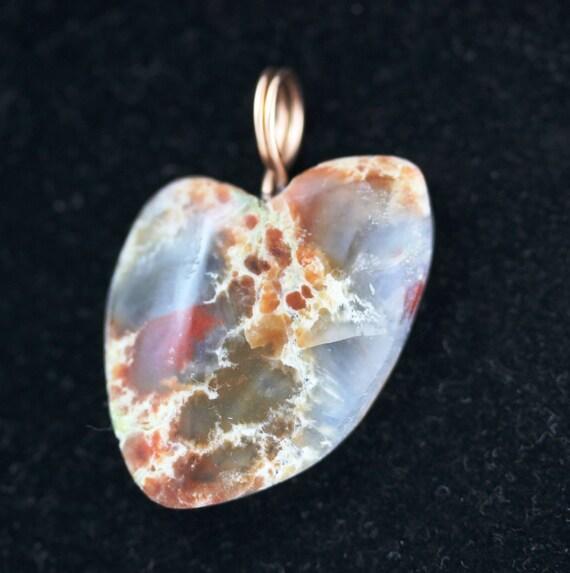 "Coprolite Heart pendant, dinosaur dung, brown tan, ""Healing Heart"", pendant bronze twirl bail 29ct"