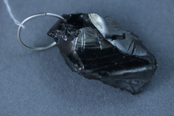 Shungite pendant, Noble Elite, black silvery, Silver Jump Bail, 45ct